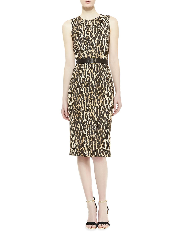 Womens Leopard Print Jersey Dress   Michael Kors   Antelope (2)