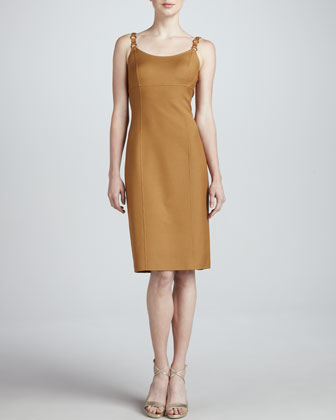 Scoop-Neck Dress with Leather Straps