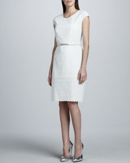 Magaschoni Eyelet Cap-Sleeve Dress
