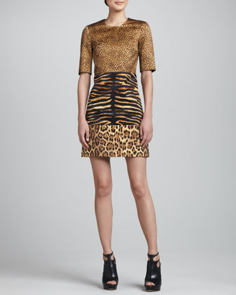 Animal-Print Tri-Panel Shift Dress