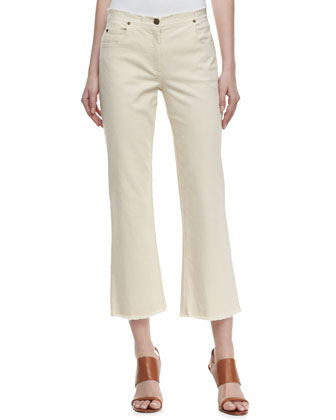 Cropped Boot-Cut Jeans, Natural Ivory