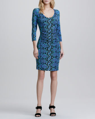 Python-Print 3/4-Sleeve Jersey Dress