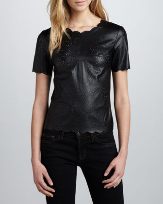 Scallop-Trim Perforated Leather Top