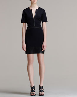 Helmut Lang Motion Leather-Trim Dress