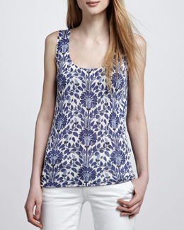 Tory Burch Irving Vine-Print Tank Top