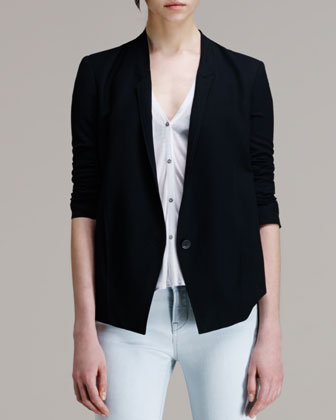 Scrunch-Sleeve Suiting Blazer
