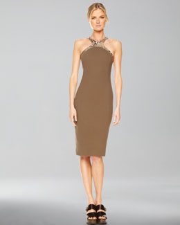 Michael Kors Faux-Python Halter Sheath Dress, Olive