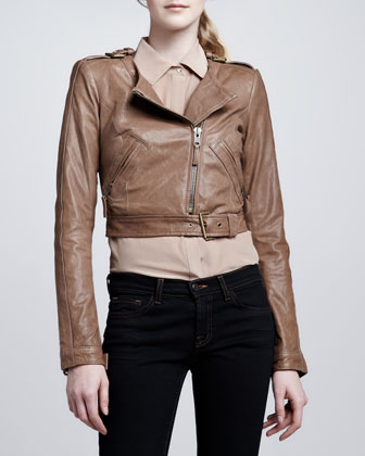 Willa Cropped Leather Jacket