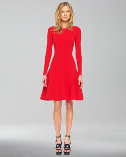 Michael Kors Long-Sleeve Bubble Dress, Red