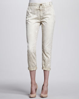Current/Elliott Buddy Cropped Trousers, Beach Dune