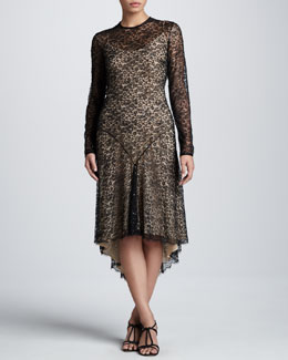 Michael Kors Chantilly Lace High-Low Hem Dress