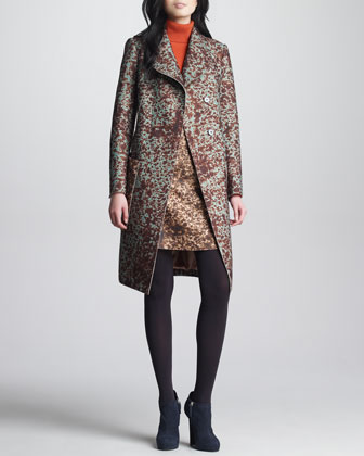 Spotted Felt Coat, Peacock Blue