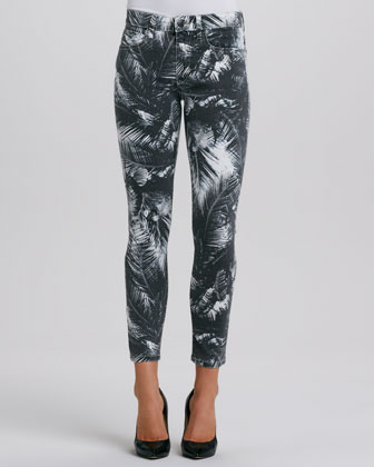 Palm-Print Highwater Jeans