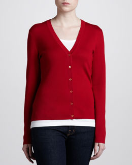 Michael Kors Superfine Cashmere Cardigan, Crimson