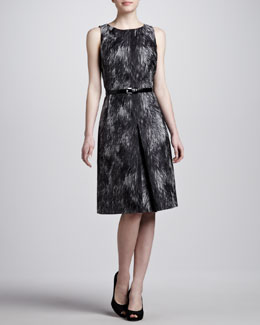 Michael Kors Brocade A-line Belted Dress