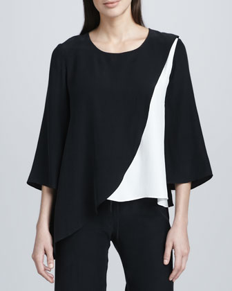 Colorblock Silk Blouse