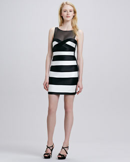 BCBGMAXAZRIA Sheer-Top Striped Pintucked Dress