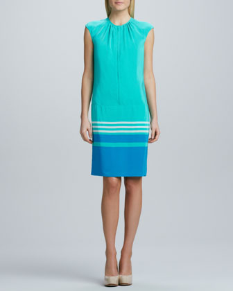 Striped-Hem Sheath Dress