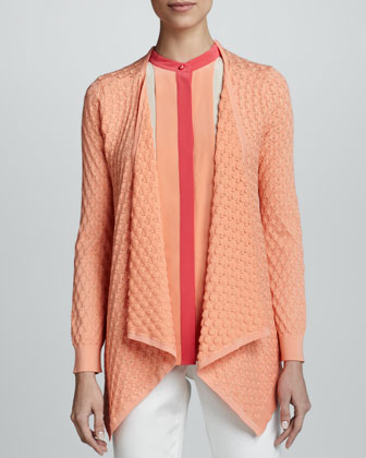 Long-Sleeve Popcorn Cardigan