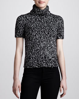 Michael Kors Marled Short-Sleeve Turtleneck