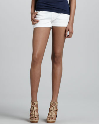 Roll-Up Jean Shorts, White