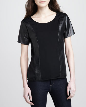 Raina Leather-Panel Tee