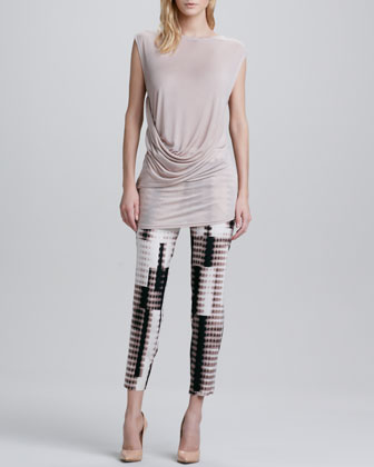Fading Dot-Print Cropped Pants