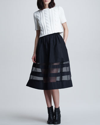 Sheer-Stripe Faille Skirt