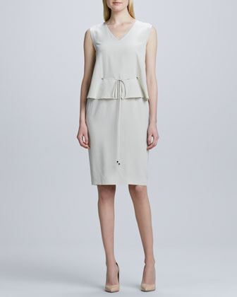 Sleeveless Drawstring-Waist Dress