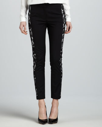 Lace-Panel Slim Pants