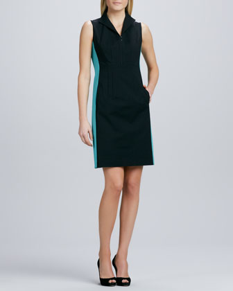 Ashton Zip-Front Colorblock Dress