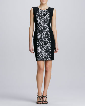 Lace-Front Sheath Dress