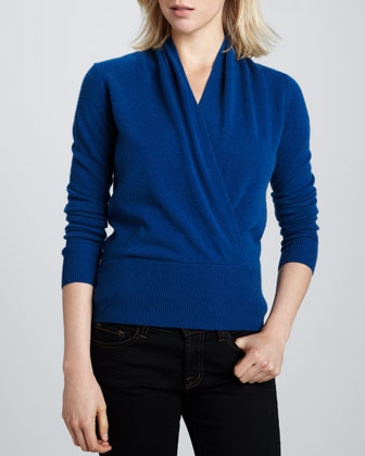 Faux-Wrap Cashmere Sweater, Women's