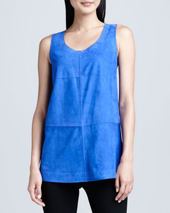 Sleeveless Bonded Suede Top