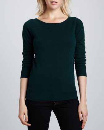 Bateau-Neck Cashmere Sweater, Women's