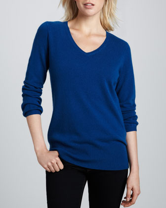 Oversized Cashmere V Neck Sweater, Women's