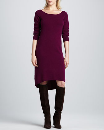Bateau-Neck High-Low Cashmere Dress