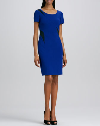 Scoop-Neck Colorblock Inset Dress