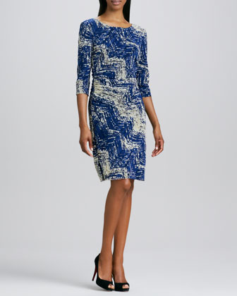 Boat-Neck Print Mesh Dress