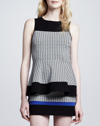 Houndstooth Colorblock Sleeveless Knit Peplum Top