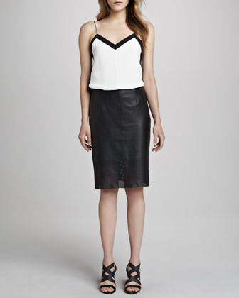Striped Perforated Leather Skirt