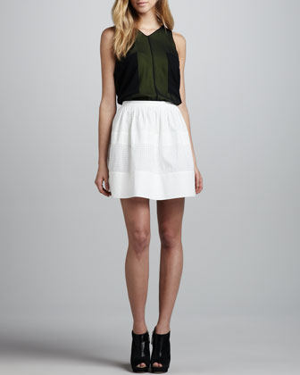 Perforated-Stripe Cotton Skirt