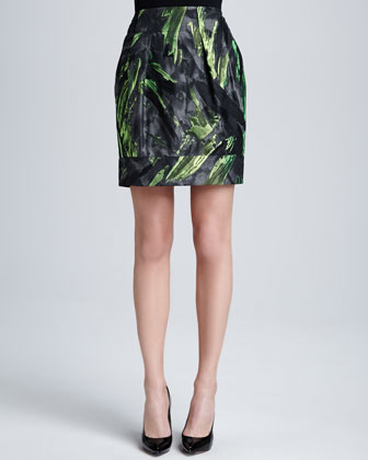 Alaina Pleated Jacquard Skirt
