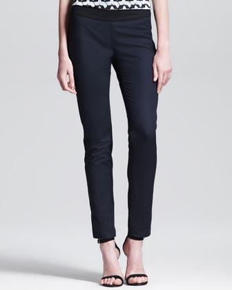 Two-Tone Tuxedo-Stripe Ankle Pants