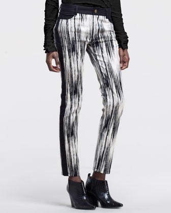 Abstract-Print Side-Stripe Pants
