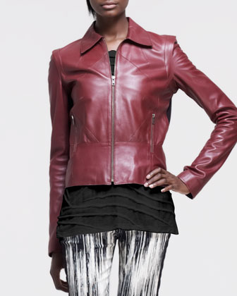 Paneled Ponte-Back Leather Jacket