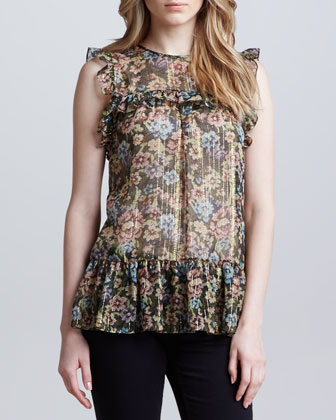 Floral Chiffon Sleeveless Tunic Length Blouse, Olive