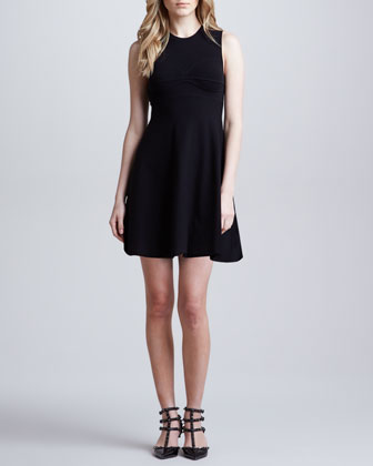 A-Line Knit Dress with Open Bow Back Detail, Black