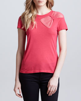 RED Valentino Point d'Esprit Bow Tee, Hibiscus