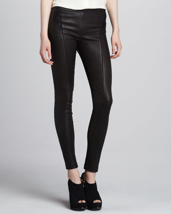 Mina Leather Pull-On Leggings